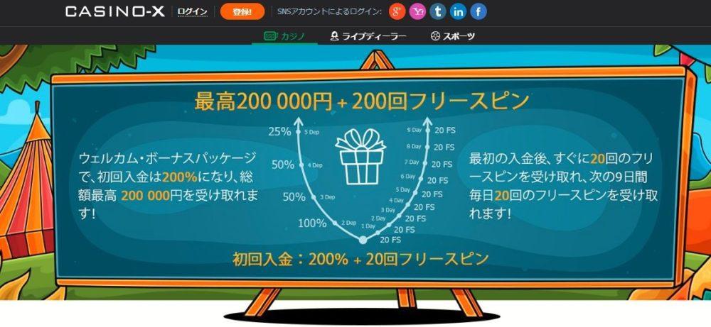 CASINO-X(カジノエックス)の入金ボーナス!フリースピンも貰えるよ!