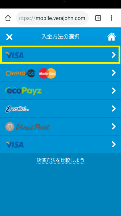 決済手段からVISAクレジット入金を選ぶ
