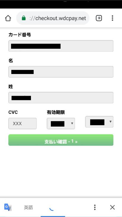 VISAクレジットの入力確認画面