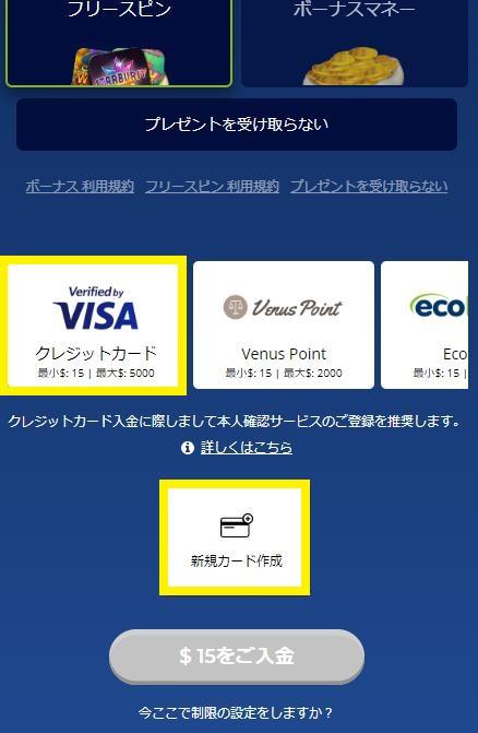 カジ旅の入金方法にVISAカードを選択