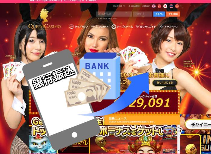 銀行振込で入金できるクイーンカジノ