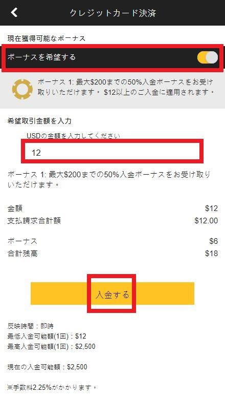 InterCasino(インターカジノ)への入金額を入力