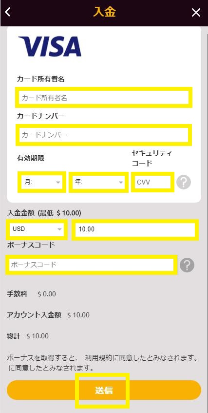 VISAカード情報と入金額を入力(ラッキーニッキーカジノ画面で)