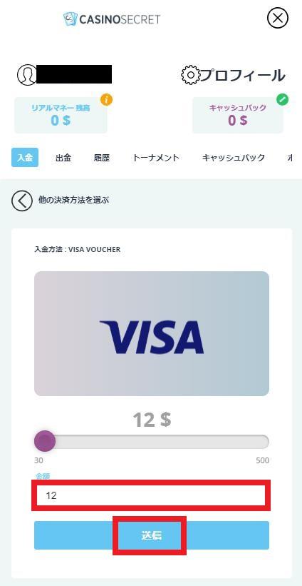VISA入金額を入力
