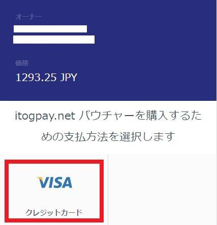 バウチャーの支払い方法にVISAを選択