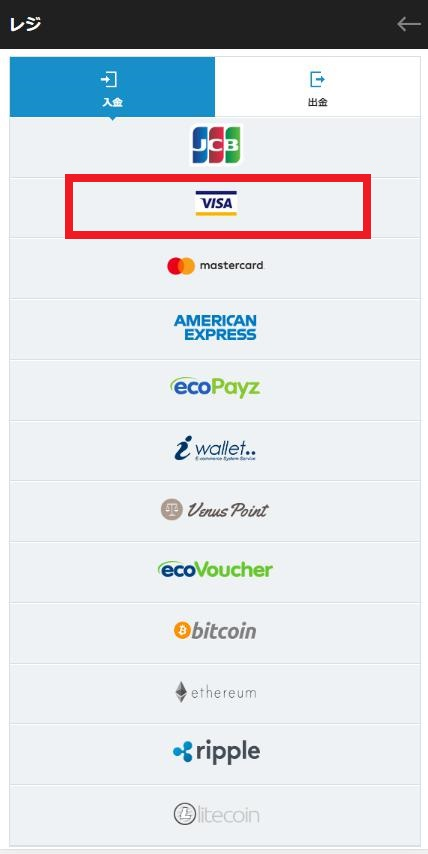 CASINO-X(カジノエックス)の入金方法の中からVISAを選択(バンドルカードだから)