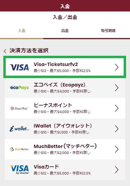 入金方法からVISAマークを選択(バンドルカードだから)