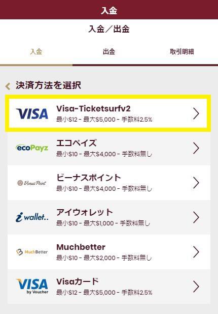 チェリーカジノの入金画面で入金方法からVISAを選択