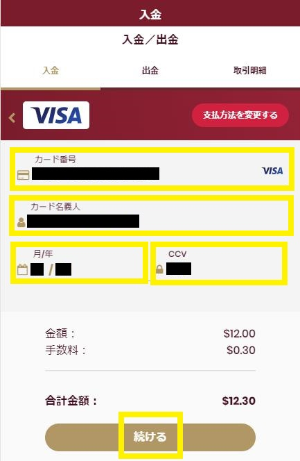 VISAカード情報を入力(チェリーカジノのVISA入金画面)
