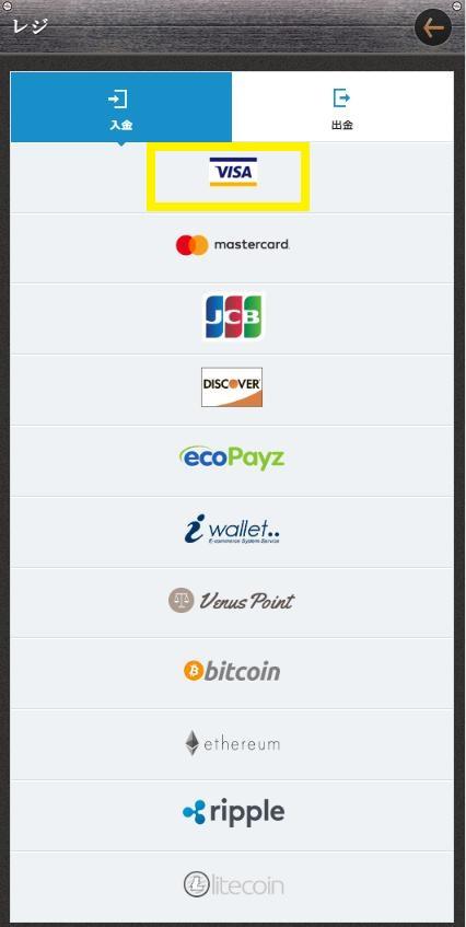 入金方法からVISAマークを選択