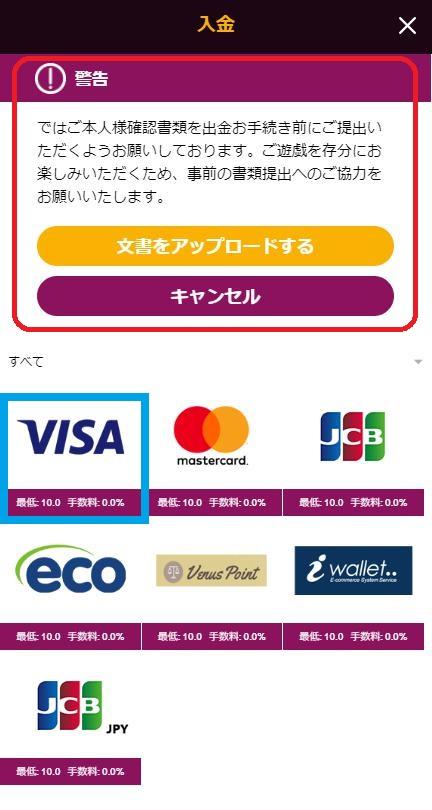 入金方法からVISAを選択(バンドルカード入金)