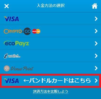 バンドルカード入金が可能なVISAマークを選択(ベラジョンカジノ画面)