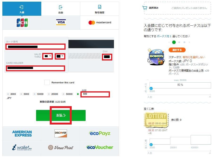 MasterCard(マスターカード)情報と入金額を入力