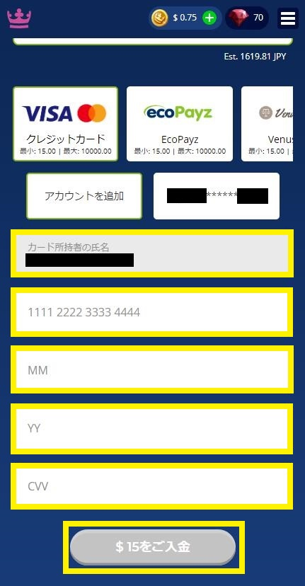 MasterCard(マスターカード)情報を入力(カジ旅)
