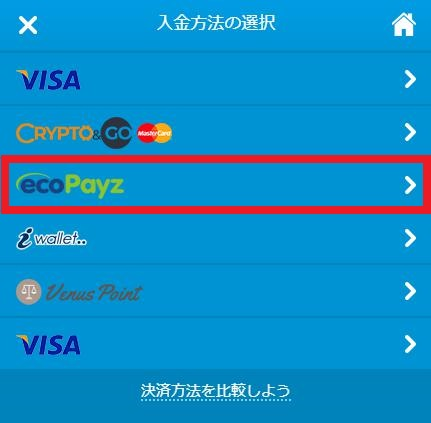 入金方法からecoPayz(エコペイズ)をクリック
