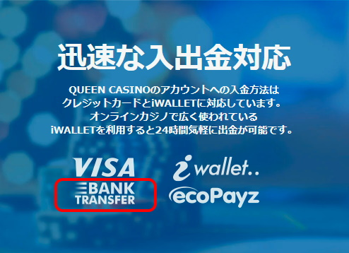QUEEN CASINO(クイーンカジノ)なら、ゆうちょ銀行振込で入金可能