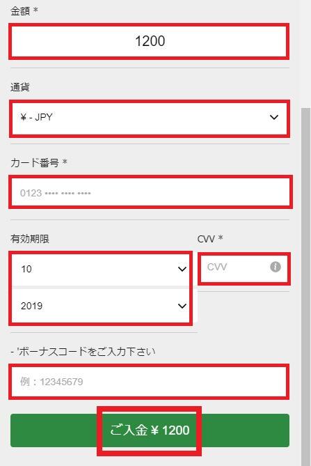 入金額とVISAカード情報の入力(10BETの入金過程)