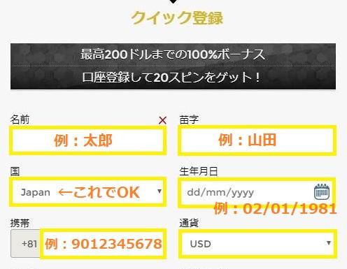 UNIQUE CASINO(ユニークカジノ)への登録情報を入力