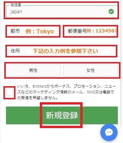 bitStarz(ビットスターズ)でアカウント登録方法と手順の途中