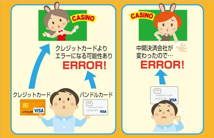 ベラジョンカジノにはバンドルカードで入金できない時もある
