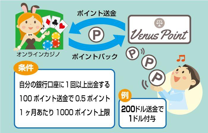 VenusPoint(ヴィーナスポイント)のポイントバック条件