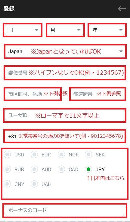 CASINO-X(カジノエックス)に登録する個人情報を入力