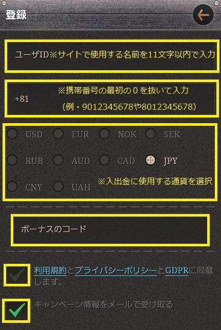 JOY CASINO(ジョイカジノ)に登録する携帯番号を入力