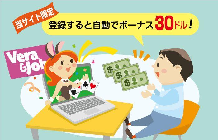 ベラジョンカジノは入金不要ボーナスがアカウント登録すると自動付与