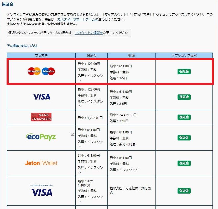入金方法からMasterCard(マスターカード)を選択