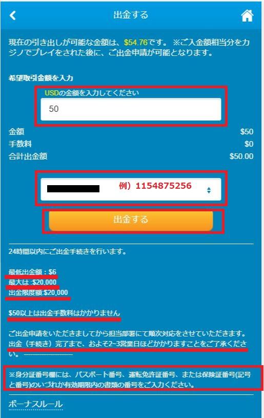 出金申請入力画面でecoPayz(エコペイズ)口座番号と出金額を入力