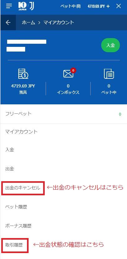 10BETからecoPayz(エコペイズ)への出金完了の確認