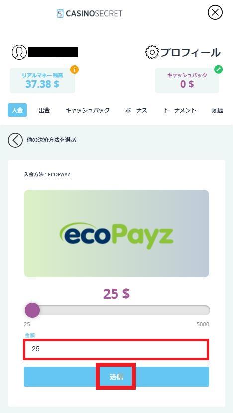 カジノシークレットにecoPayz(エコペイズ)入金したい金額を入力