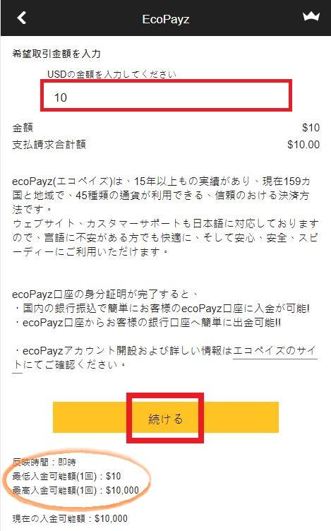 ecoPayz(エコペイズ)での入金額を決定する