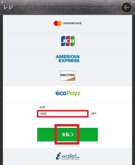 ecoPayz(エコペイズ)での入金額を入力