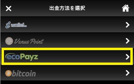 ライブカジノハウスの出金方法からecoPayz(エコペイズ)を選択