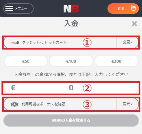 NetBet(ネットベット)への入金詳細画面