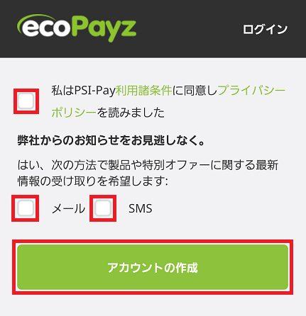 ecoPayz(エコペイズ)口座の開設は完了