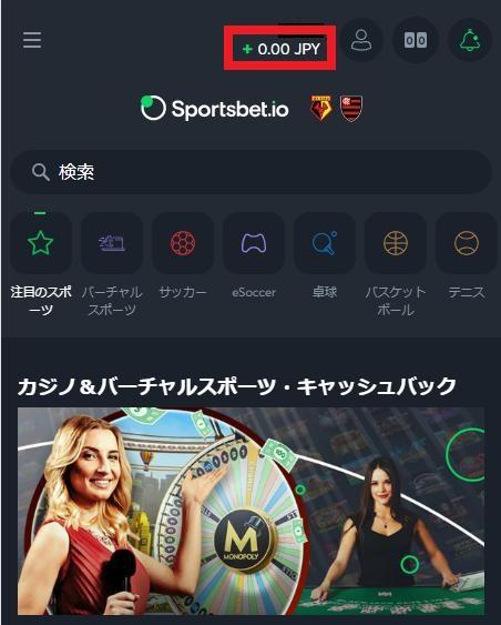 Sportsbet.io(スポーツベットアイオー)で入金を始める