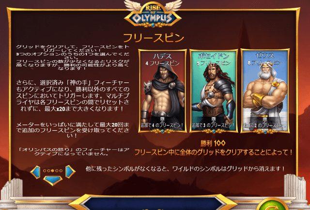 Rise of Olympus(ライズ・オブ・オリンポス)のフリースピン