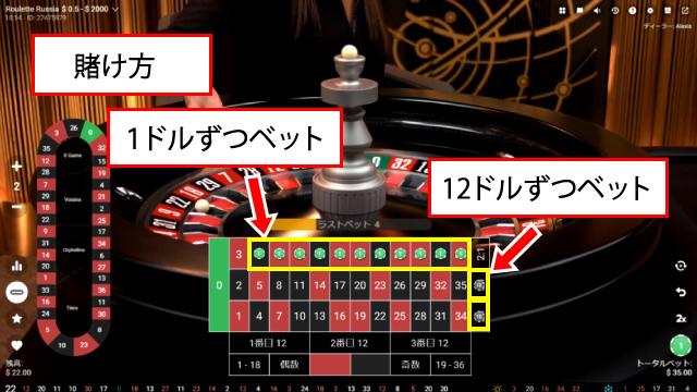 ベアビック法のチップの賭け方