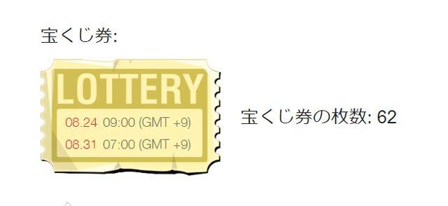 入金2000円ごとにもらえる宝くじ券