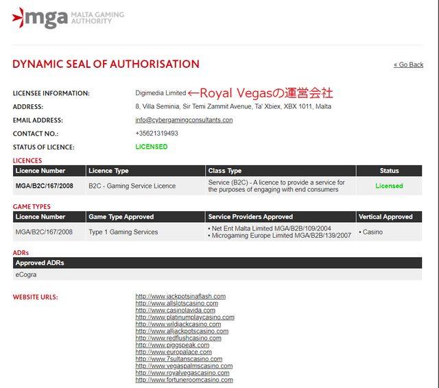 Royal Vegasが取得しているマルタ共和国のライセンス