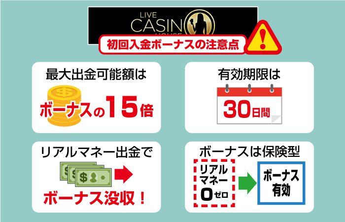 ライブカジノハウスの入金ボーナス注意点