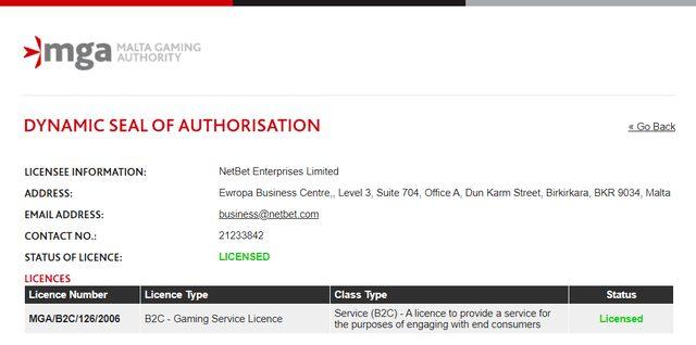 NETBETが取得しているマルタ共和国ライセンス