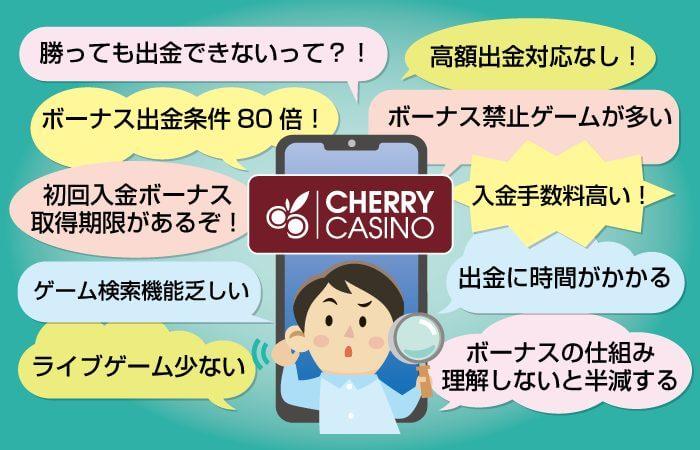 チェリーカジノの悪い評判を口コミやSNSから検証