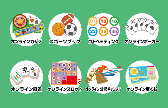 日本でプレイできるオンラインギャンブルの種類一覧