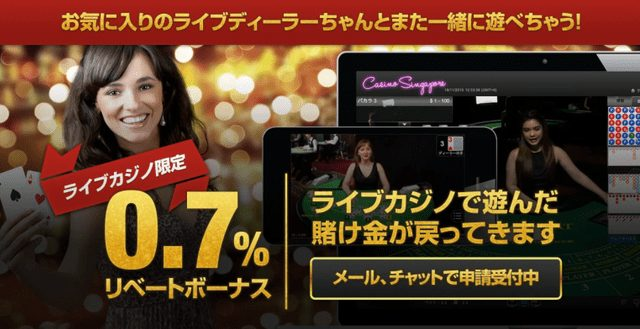 クイーンカジノのライブカジノ用のリベートボーナス